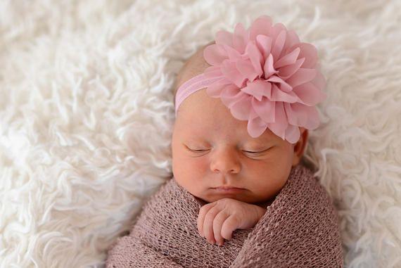 Dusty Rose Baby Headband Headband Baby Gift, Christening Baptism Headband Floral Headband Ivory Mint