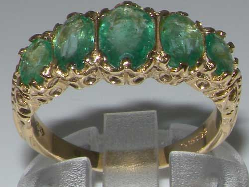 9ct Gold Modern Emerald 5 Stone Ring