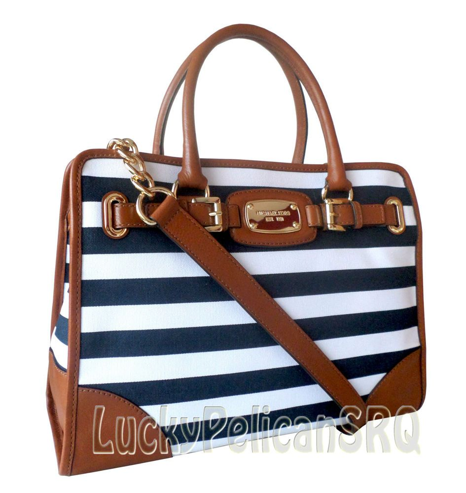 Michael Kors Hamilton EW Stripe Canvas Navy White Tote Shoulder Bag Purse  #MichaelKos #Handbag