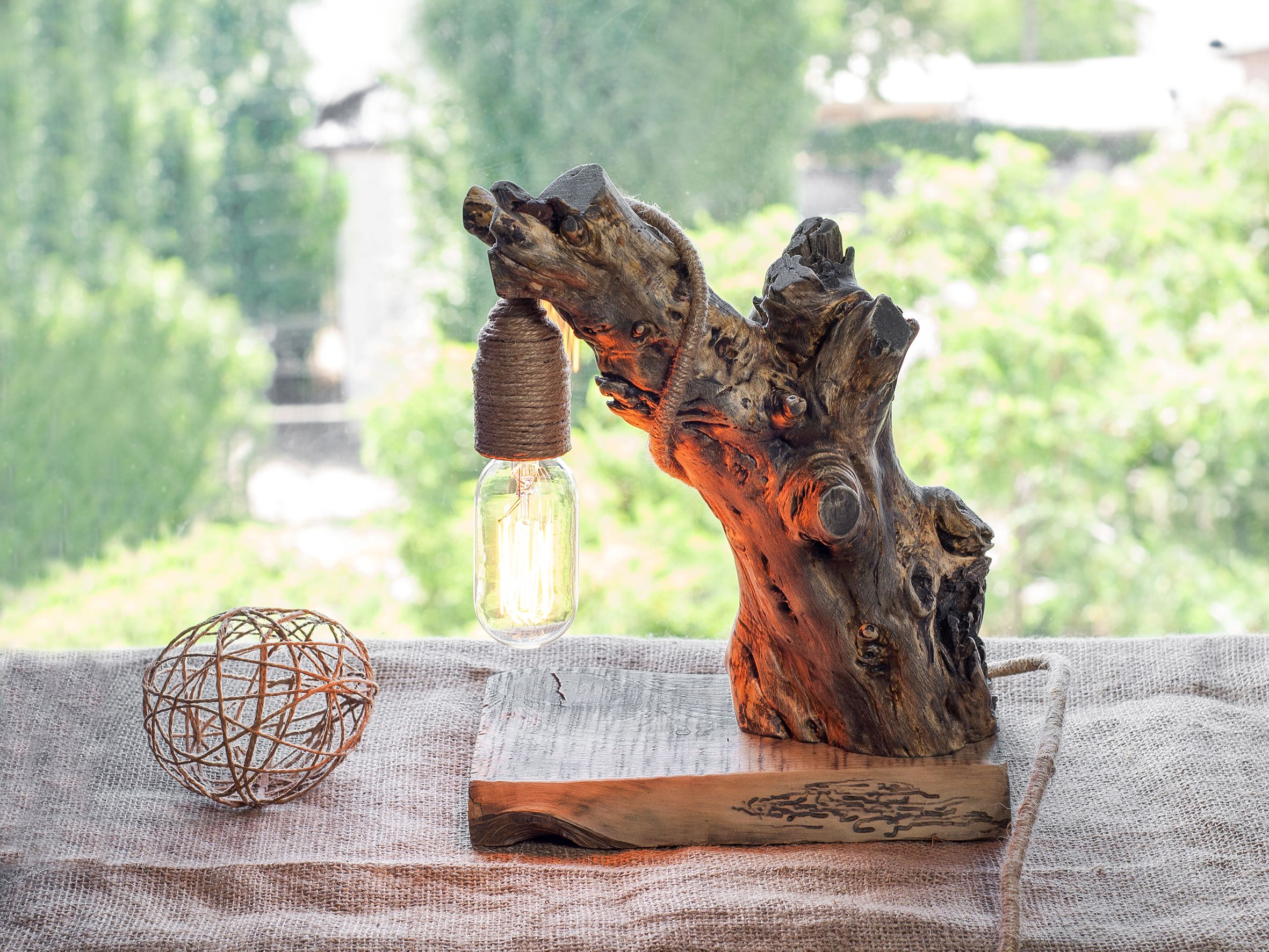Driftwood Lamp Wood Lamp Rustic Light Edison Light Wood Log