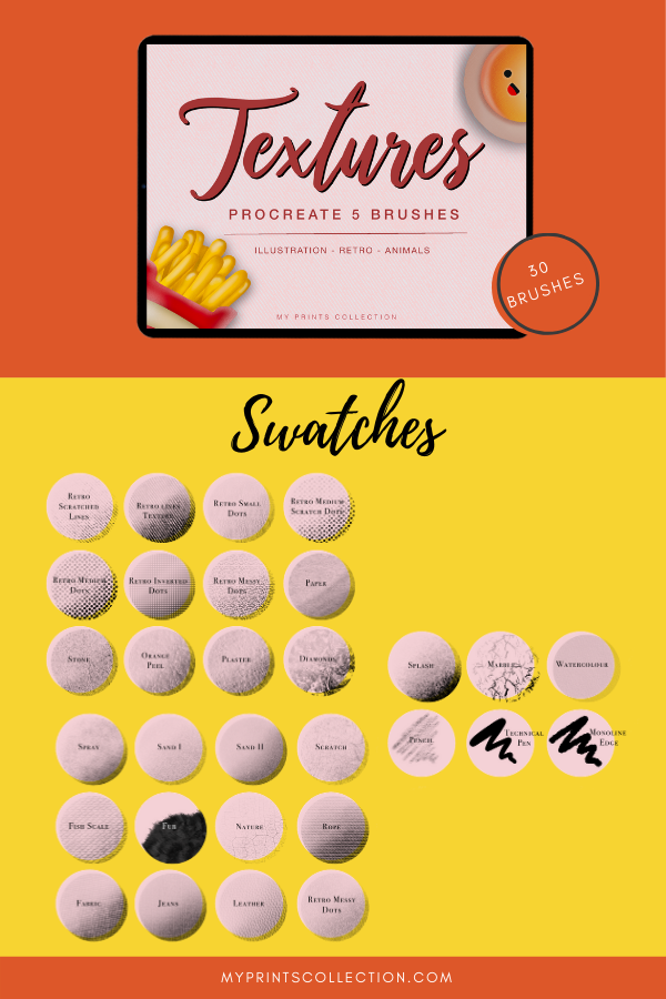 Illustration Brushes for Procreate | Texture Set | Lettering