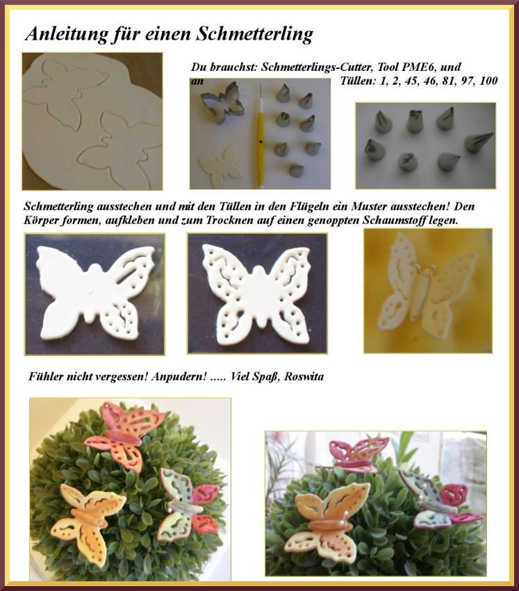 Schmetterlinge, verziert mit Spritztüllen