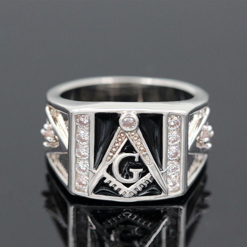Vintage Black Masonic Rings Silver Plated CZ
