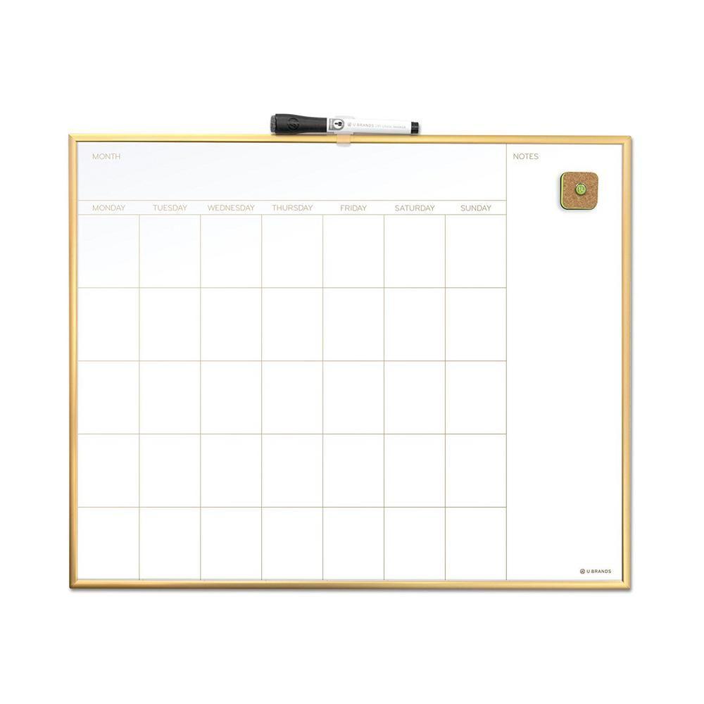 U Brands 20 In X 16 In Gold Aluminum Frame Magnetic Monthly Calendar Dry Erase Board 364u00 01 The Home Depot In 2020 Dry Erase Board Calendar Dry Erase Board Dry Erase Calendar