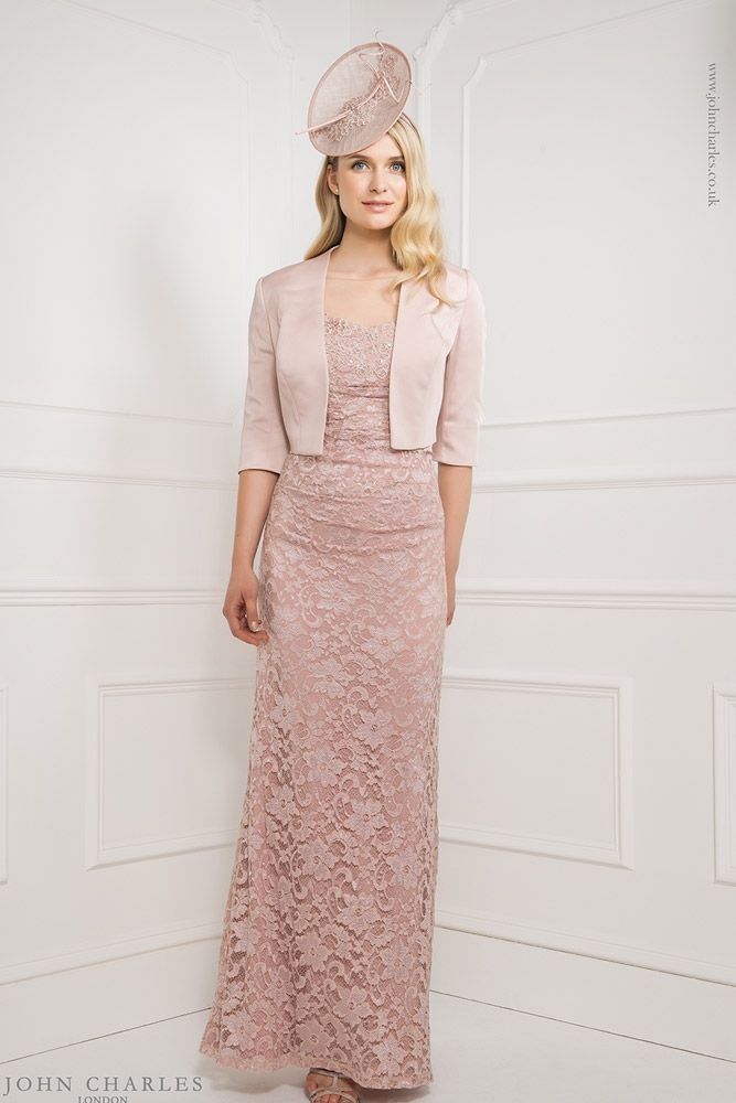 John Charles 25892 Full Length Lace Dress & Matching Jacket in Blush ...