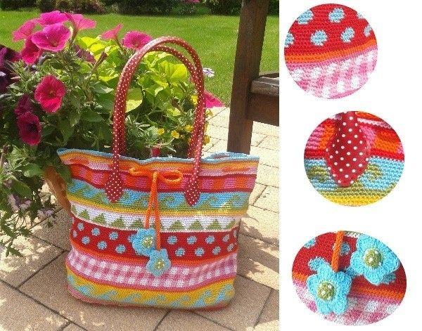 So eine gehäkelte Tasche in knalligen Farben macht einfach gute ...