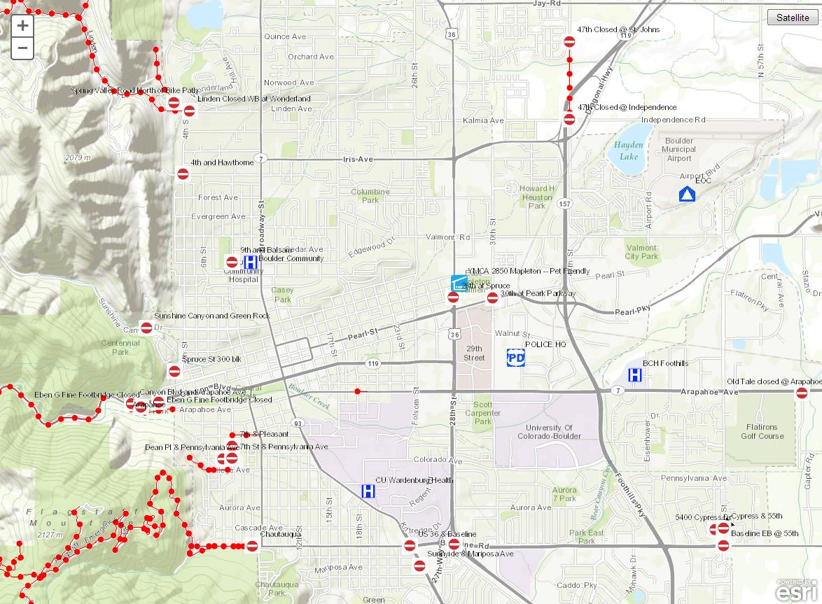 Boulder road closure interactive map #Colorado #flooding