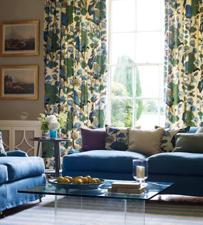 Blue and green living room - an ideal way of tying together my collection of green with a new colour ..
