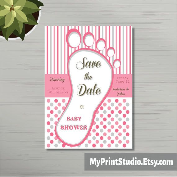Save the Date Baby Girl Shower Card Template Save by MyPrintStudio - baby shower card template