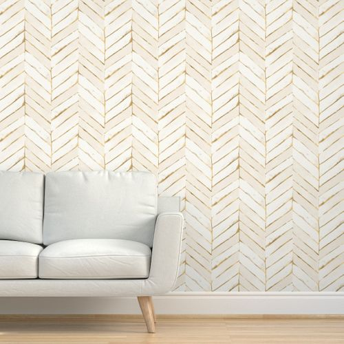 Chevron Painted Cream Gold In 2020 Chevron Wallpaper Gold Wallpaper Textured Walls