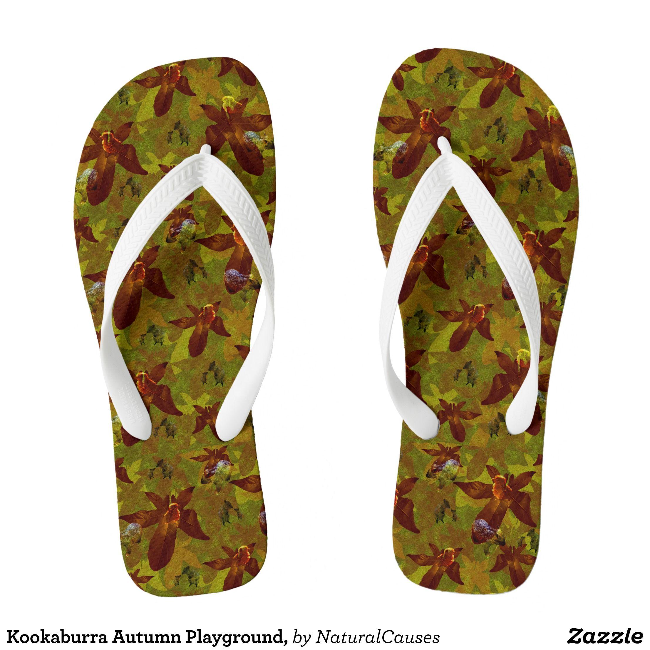 dbe8f98c668 Kookaburra Autumn Playground, Flip Flops | Zazzle.com | FLIP FLOPS ...