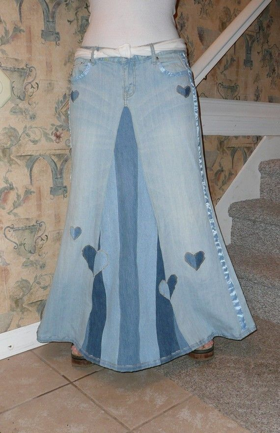 LONG DENIM SKIRT from old jeans cute- love the ruffle flower idea ...