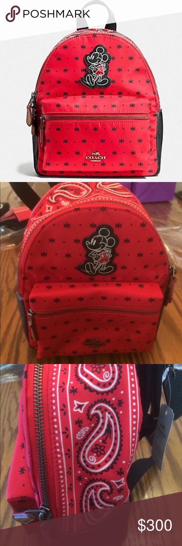 fb7ef64a2a57 NWT Coach Disney Mini Backpack Mickey Mouse MINI CHARLIE BACKPACK IN PRAIRIE  BANDANA PRINT WITH MICKEY
