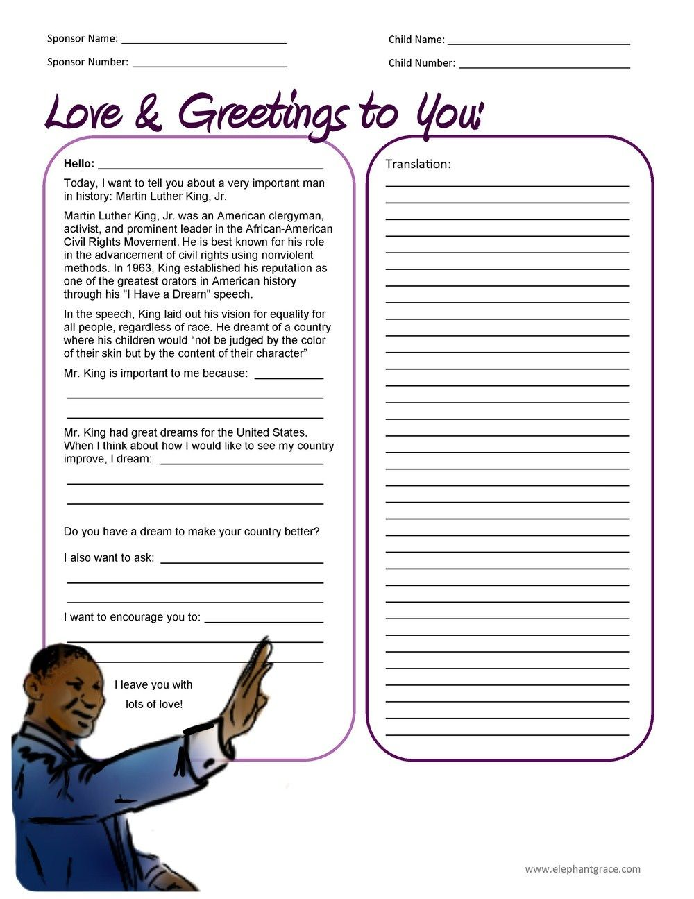 Martin Luther King Jr Letter Writing Template For Compassion