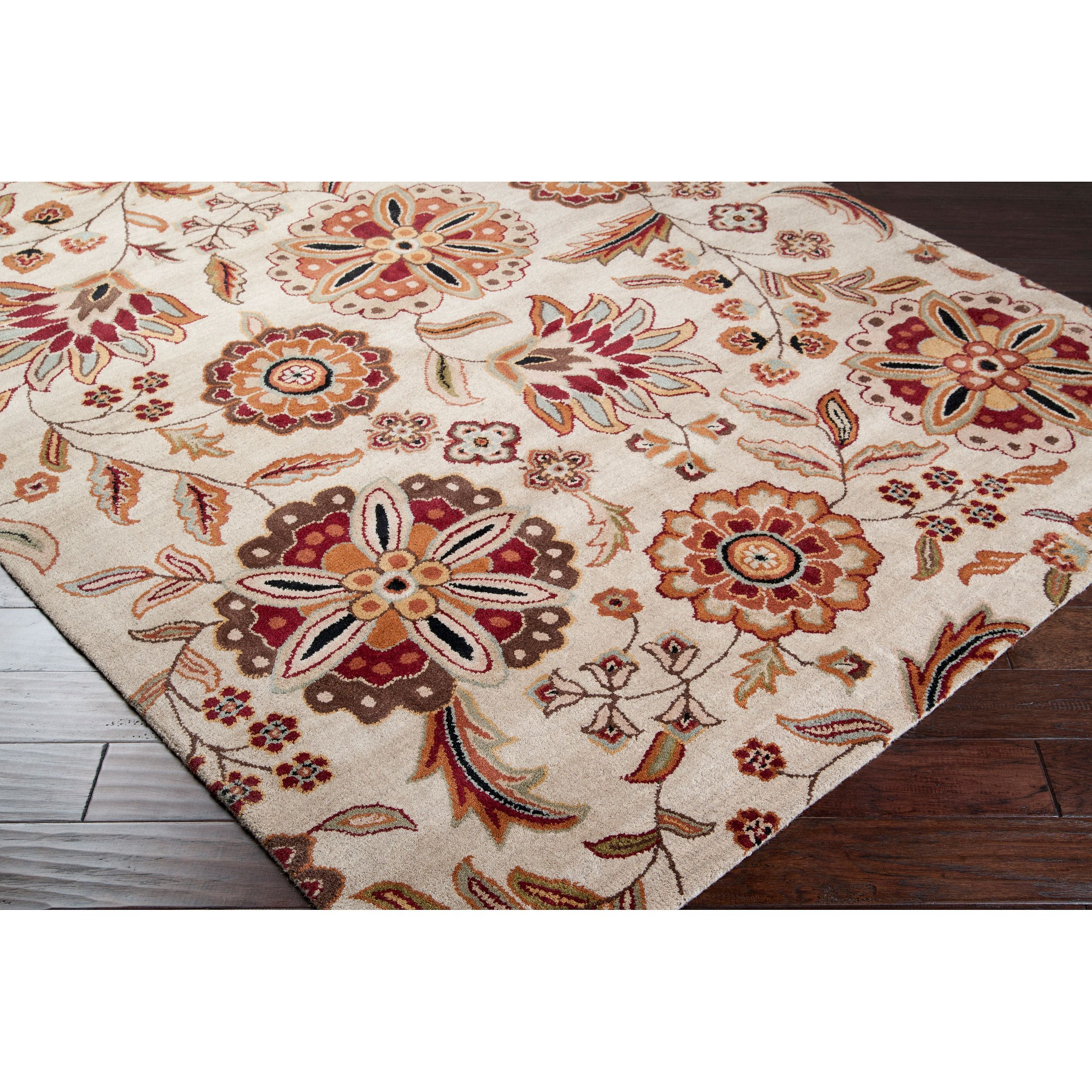 Hand Tufted Whimsy Beige Floral Wool Rug 8 X 11 Ivory Size 8