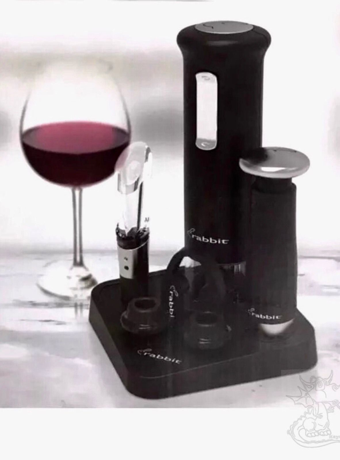 Rabbit Electric Wine Set Corkscrew Foil Cutter Preserver Aerator Charger  Barware