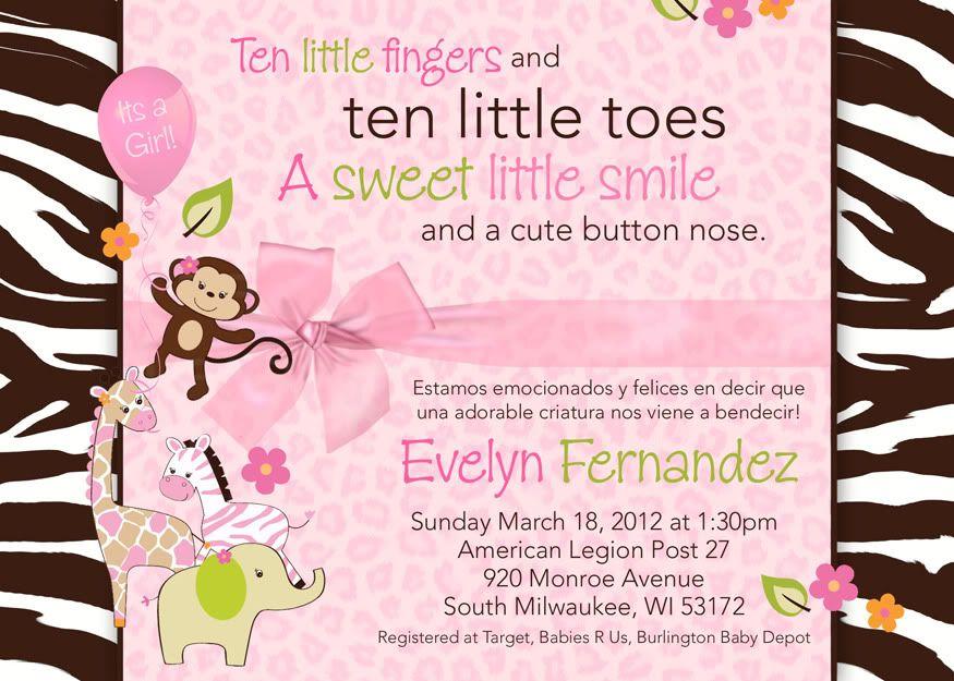 jungle baby shower invitations | Personalized Pink Jungle Safari ...