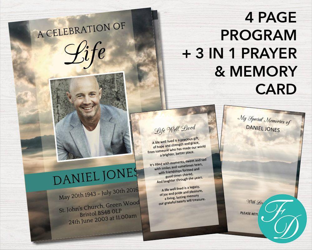 Funeral Program Template 3 In 1 Prayer Card Celebration Of Etsy Funeral Program Template Funeral Programs Memorial Program
