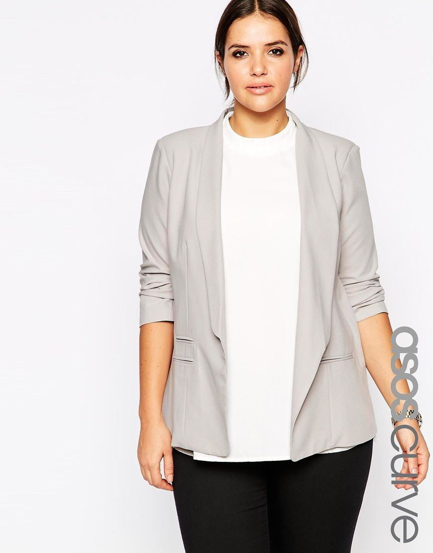 Image 1 of ASOS CURVE Blazer in Crepe with Slim Lapel