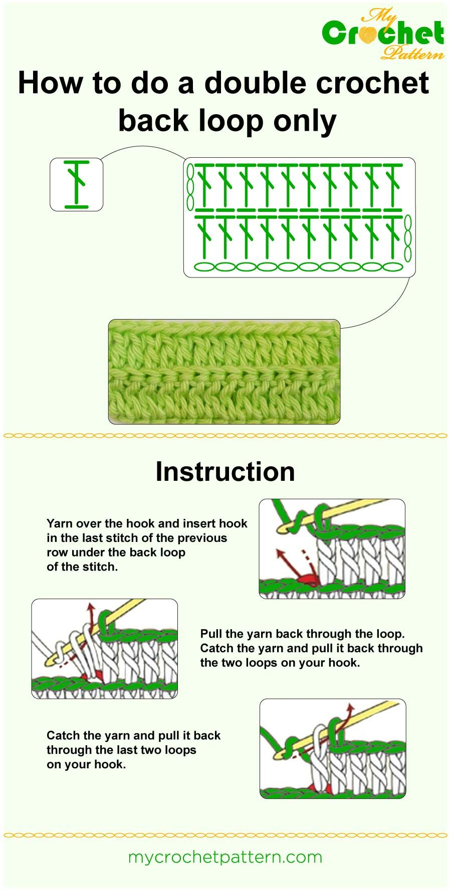 How to work with the front and back loop Instructions for beginners