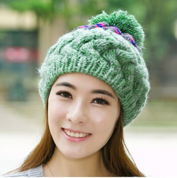 Large hairball cable knit hat for women bobble caps winter wear ...