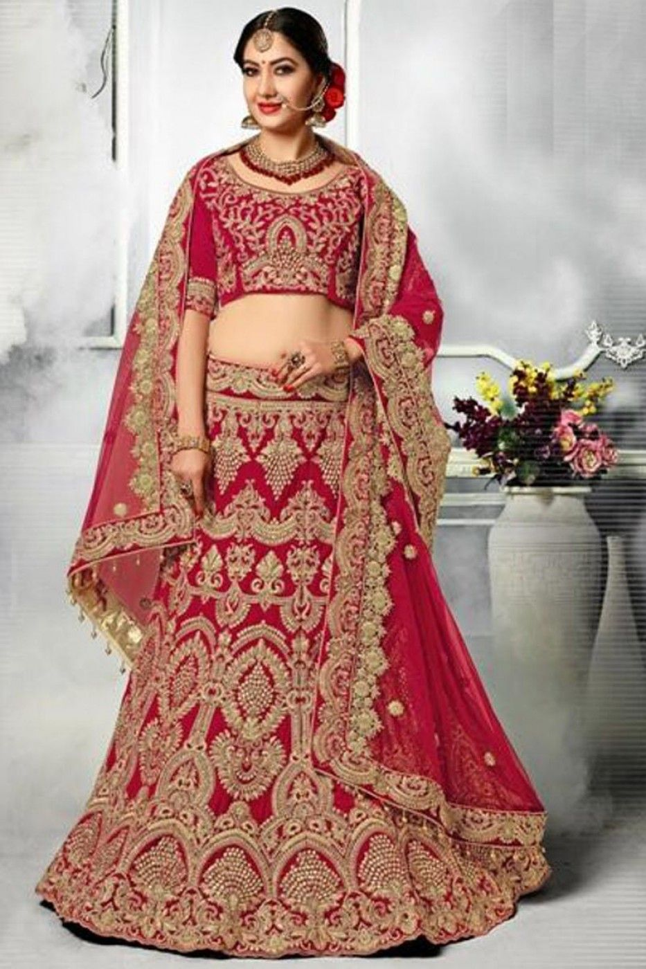 Embroidered Red Velvet Sangeet Wear Lehenga With Embroidery Work And Beautiful Blouse Bridal Lehnga Red Indian Bridal Lehenga Lehenga Choli