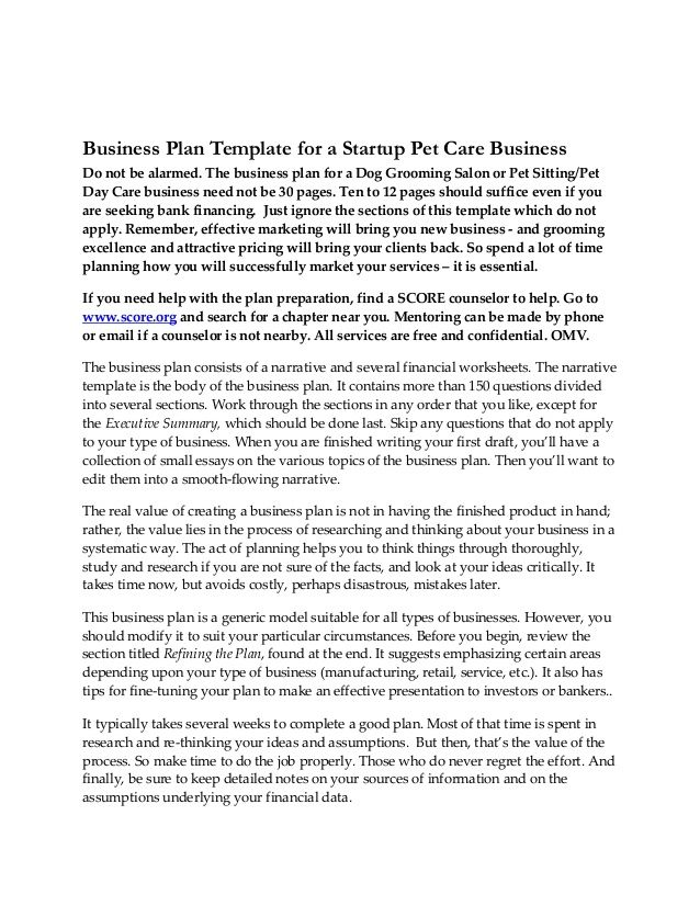 Business plan-startup-pet-care-business-05252011 My Business