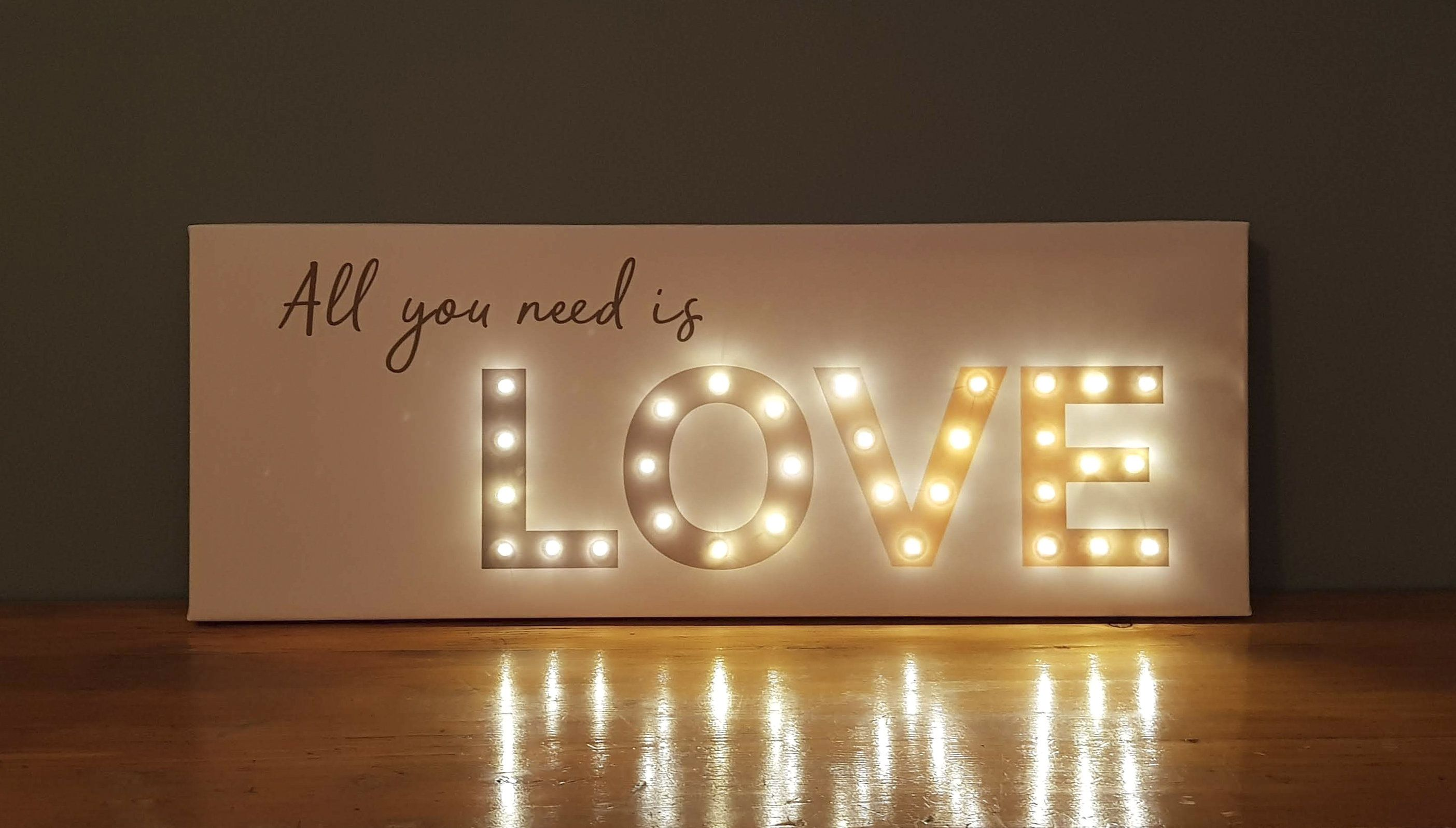 Light Up Love All You Need Is Love Sign Battery Operated Etsy In 2020 Love Signs Light Up Letters Light Up Signs