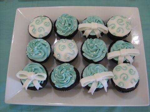 Tiffany Blue Pearl and Bow Cupcakes