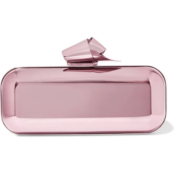 ec8d854cb72 Jimmy Choo Cloud Tube mirrored metal clutch ($1,795) ❤ liked on Polyvore  featuring bags, handbags, clutches, pink, purple handbags, flower handbags,  jimmy ...