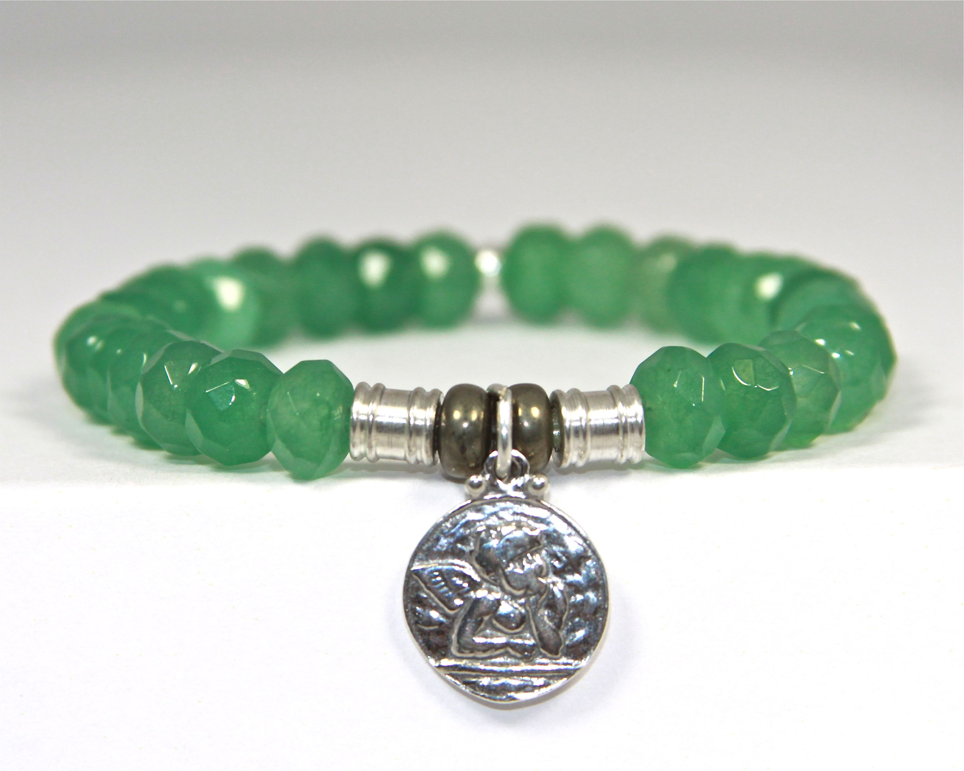st pin stone precious bracelet guardian angel semi jade green with