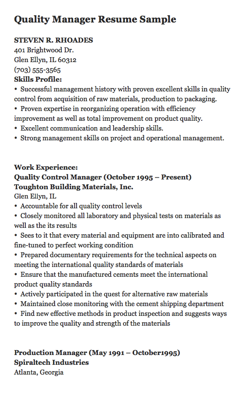 Materials Manager Resume Steven Rrhoades 401 Brightwood Drglen Ellyn Il 60312 703 555 .