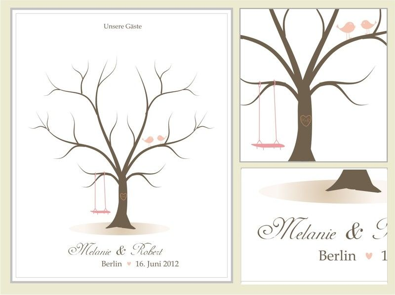 Hochzeitsgästebuch - Wedding Tree, Hochzeit, Gästebuch (W103 klein) - ein Designerstück von MaryPoppins-eu bei DaWanda