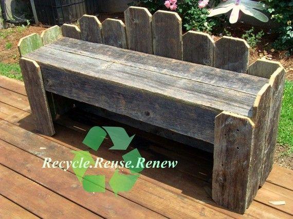 Banco de jardín. Banco de madera reciclada. Banco rústico. Banco del ...