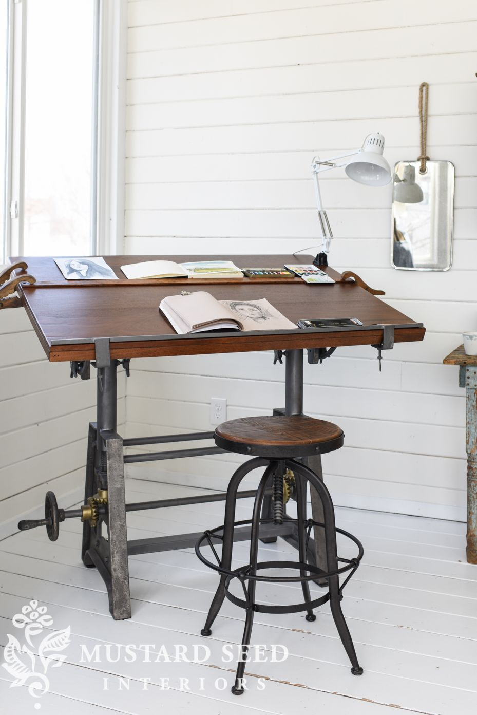Industrial Crank Drafting Table with Iron base   Arhaus