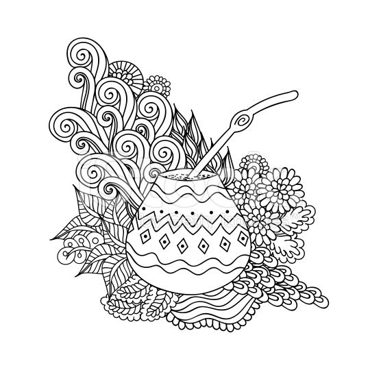 Yerba mate tea in gourd and straw, and floral wave doodle pattern ...