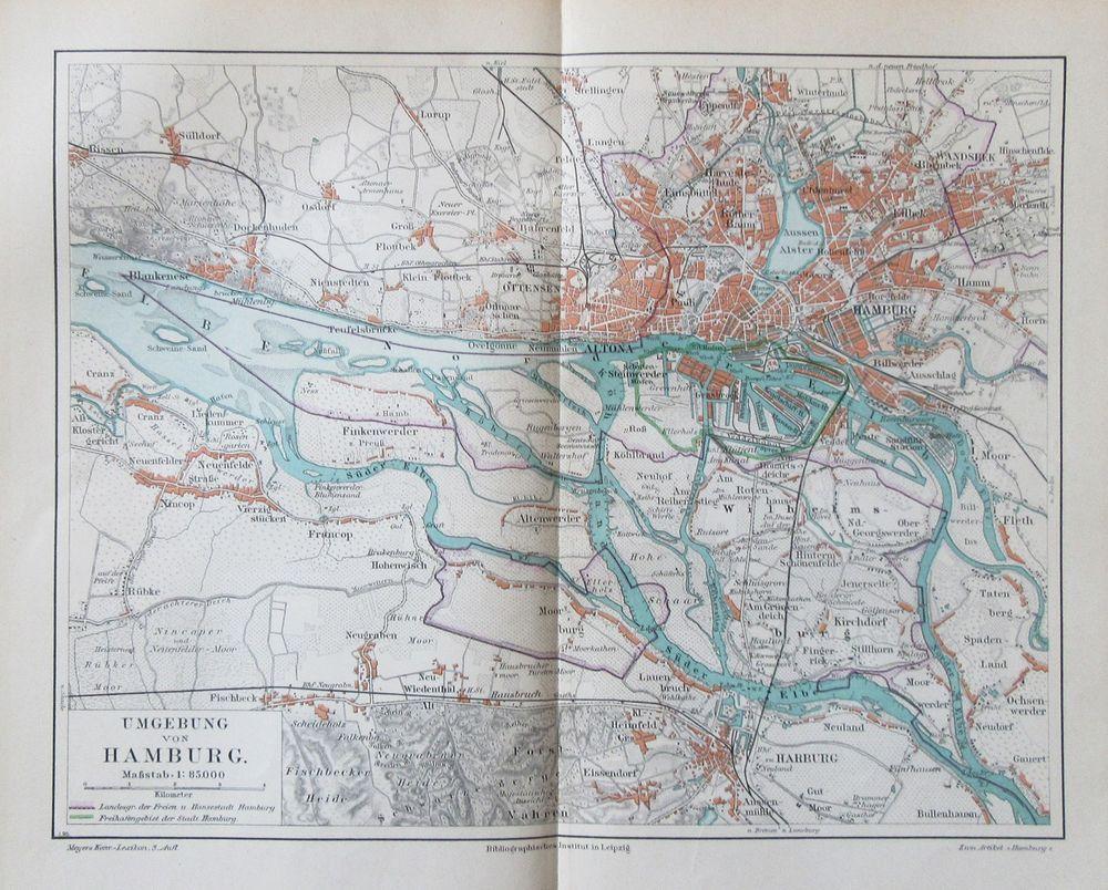 Details Zu 1895 UMGEBUNG VON HAMBURG Historische Landkarte