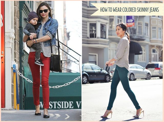 1000  images about How to wear COLOR skinny jeans on Pinterest