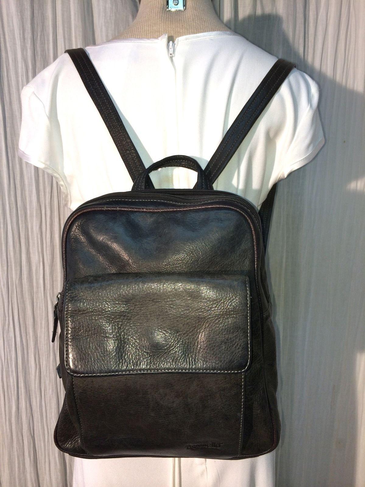 4634c9bd4b46 Black Leather Tignanello Big Backpack Purse Shoulder bag Handbag ...