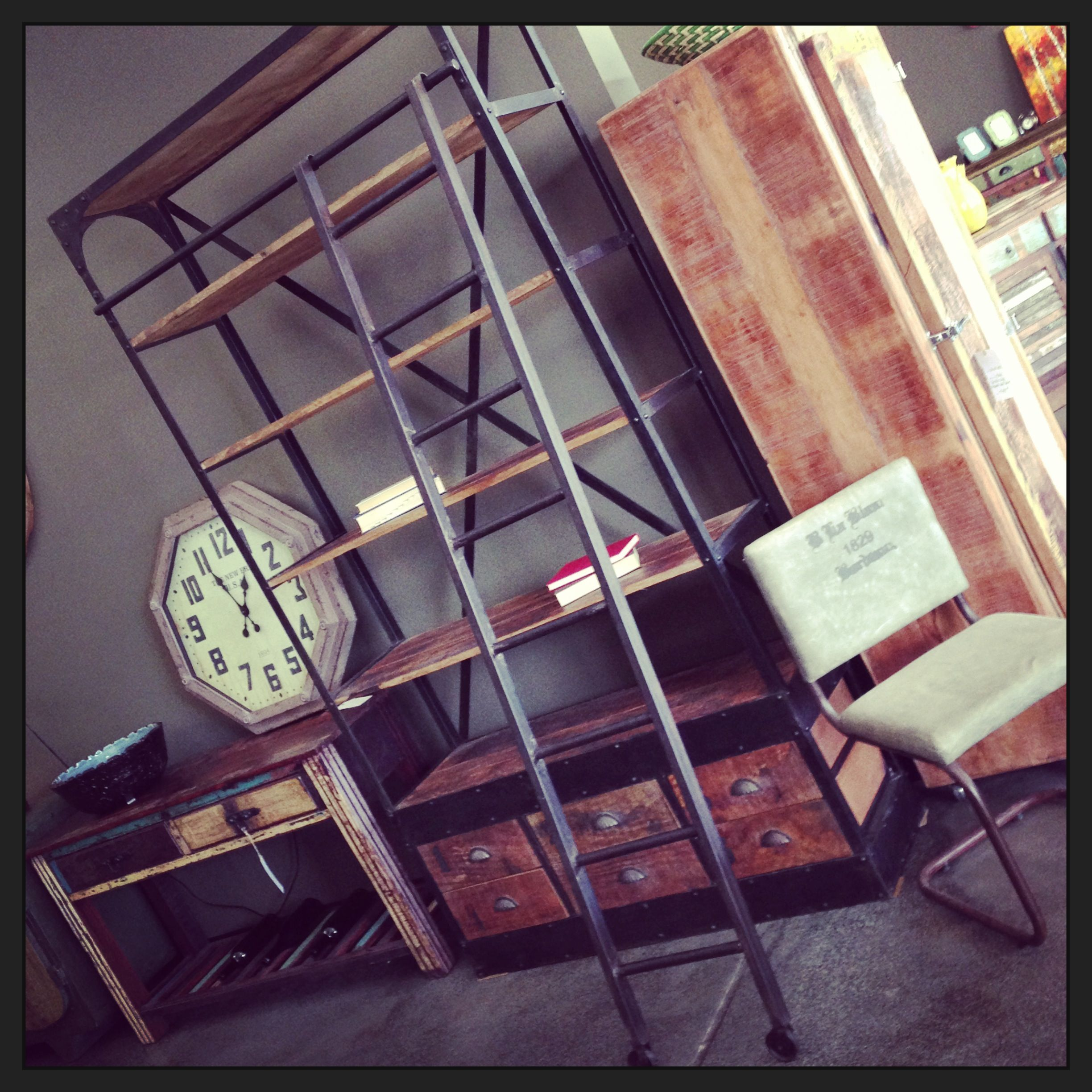 Industrial Loft Style Library Study Reclaimed Wood Metal Bookcase With  Ladder Unique Furniture Fayetteville Arkansas Csquare