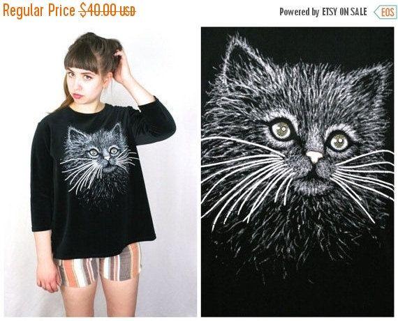FLASH SALE 80s CAT Sweatshirt in Black Velour / Sparkly Eyed Persian Kitten Oversized Kitschy Kawaii Top / One Size