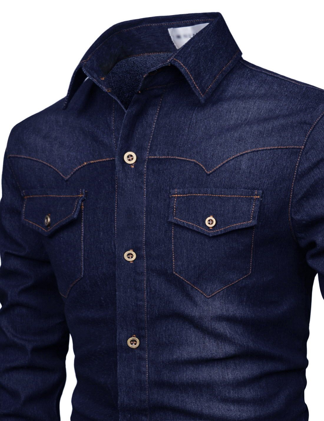 8f564b7169 (NKTHS604) TheLees Mens Slim Fit Long Sleeve Spandex Washing Daily Denim  Shirts