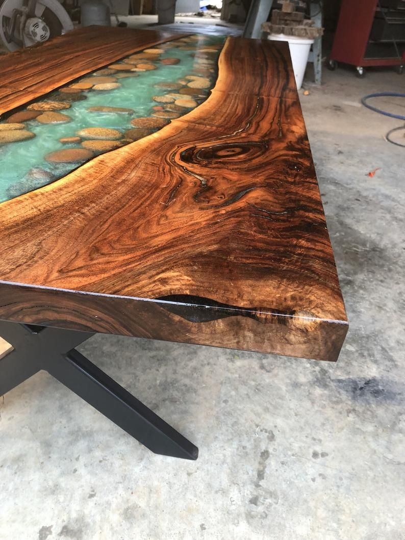 River Table Wirh Walnut And River Stone Live Edge Coffee Dining Table In 2020 Wood Table Design Resin Furniture Homemade Tables