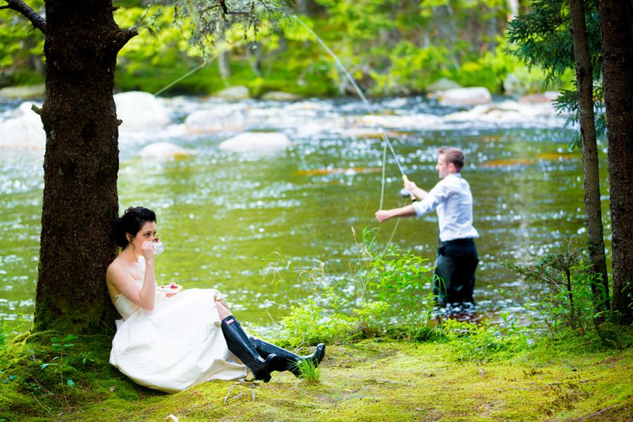 Trash the Dress - Wedding Photography just outside Halifax.  She drinks tea while he's out fishing.