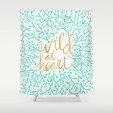 Wild At Heart Turquoise Gold Shower Curtain