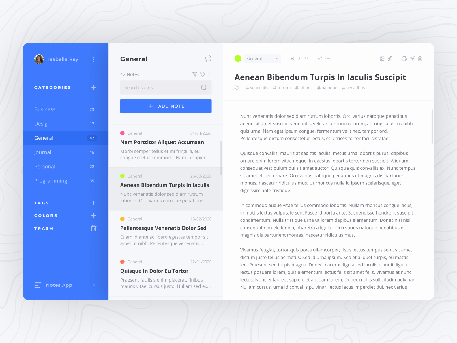 Notes App Category Screen In 2020 React App Web Design App