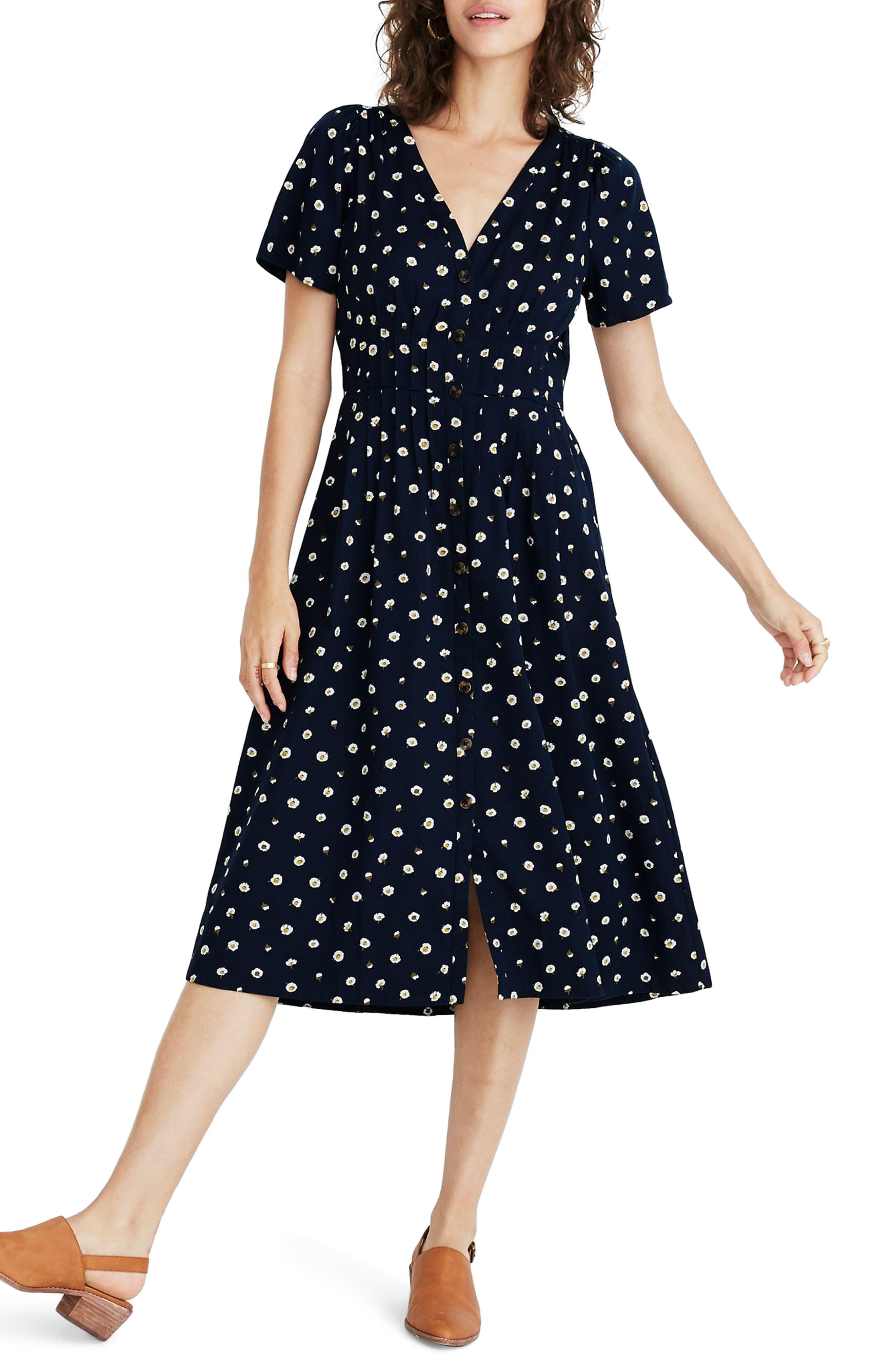 Madewell Daylily Midi Dress In Daisy Dots Nordstrom Short Dresses Casual Midi Dress Dresses [ 4048 x 2640 Pixel ]