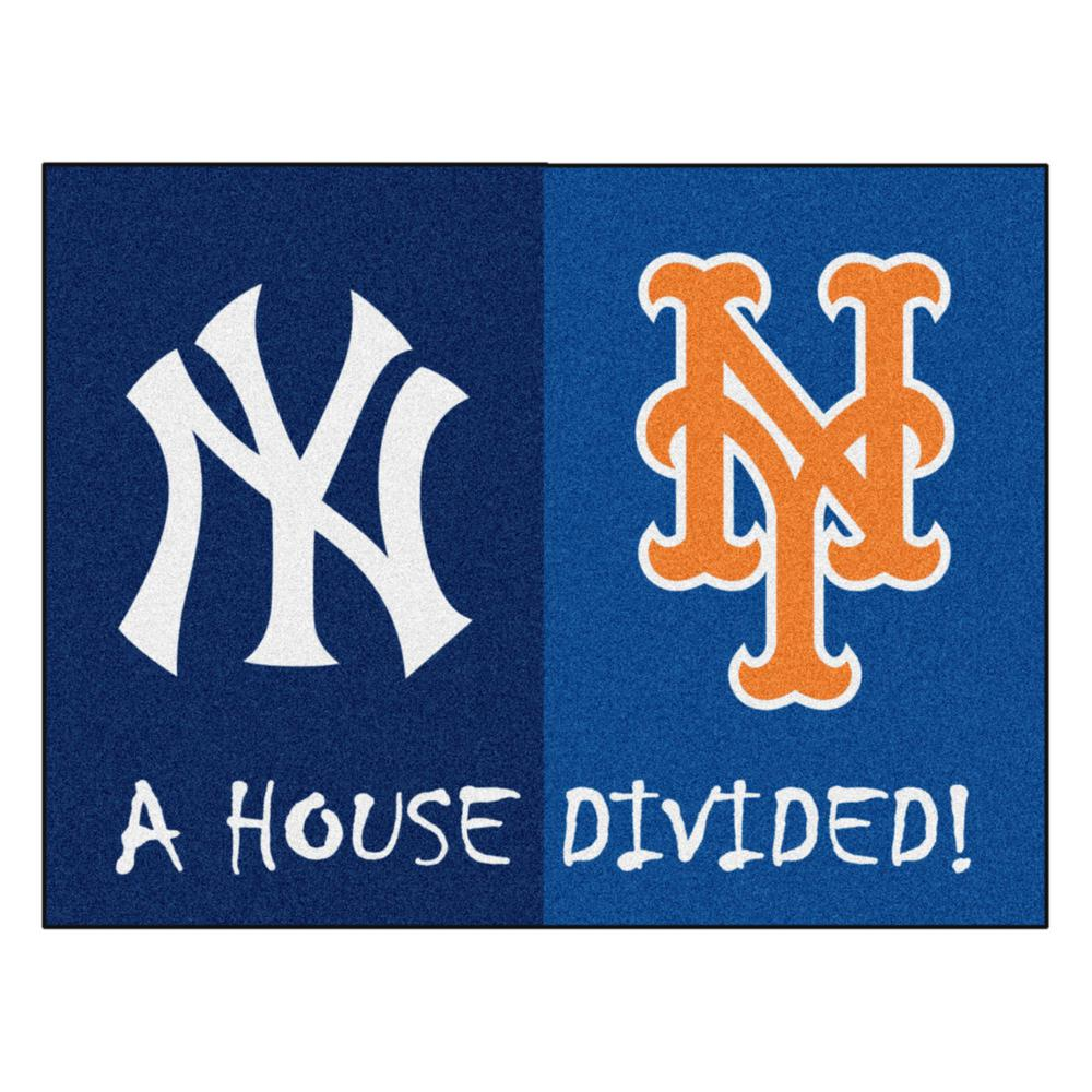 Fanmats Mlb Yankees Mets House Divided Navy Blue 3 Ft X 4 Ft Area Rug 12253 The Home Depot Mlb Yankees House Divided Team Colors