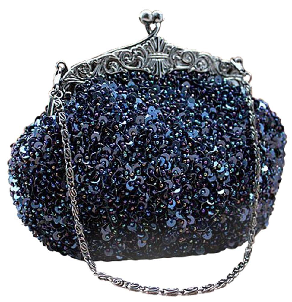 Blue Sequin Formal Clutch Bag