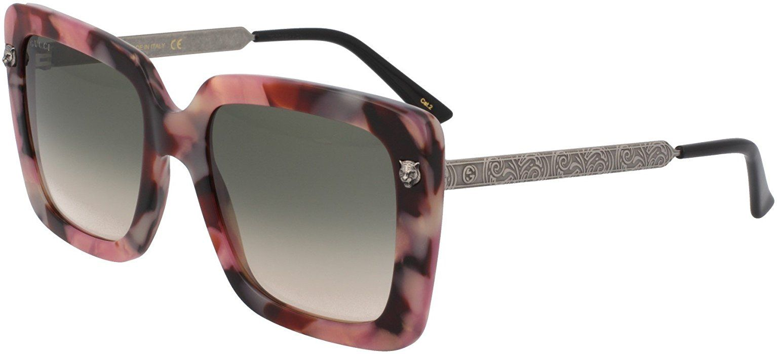 8f020274875 Amazon.com  GUCCI GG0216S 005 Rose Amber Oversized Square Sunglasses   Clothing